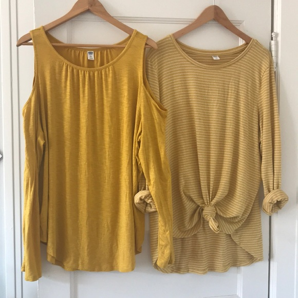 380f3c84e757 Old Navy Tops   Lot Of Two Yellow Cold Shoulder And Sweater   Poshmark